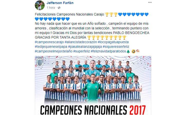 Jefferson Farfán y otros futbolistas nacionales festejaron el título 23 de Alianza Lima
