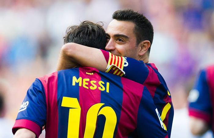 Xavi Hernández y Lionel Messi. Foto: Twitter