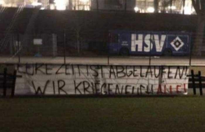 Hamburgo es amenazado por hinchas. Foto: Twitter