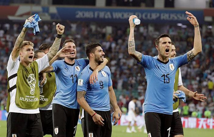 Uruguay festeja su pase a cuartos de final en Rusia 2018 (Foto: EFE)
