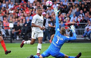 Kylian Mbappé brilló en la victoria del PSG frente al Guingamp