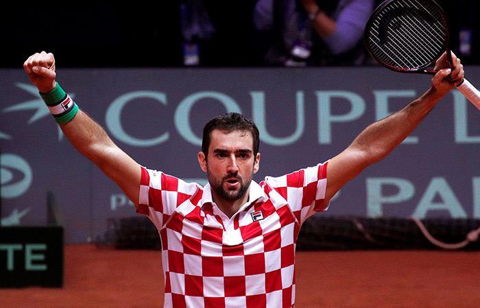 Cilic celebra el segundo punto de Croacia. Foto: EFE