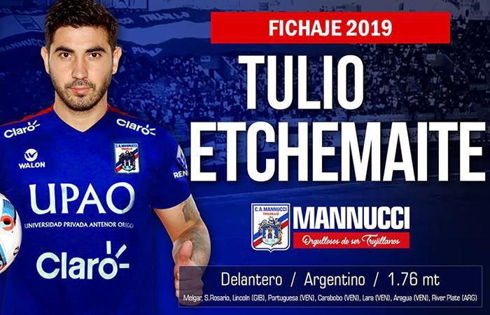 Carlos Mannucci: Tulio Etchemaite es el nuevo refuerzo de los 'Carlistas'