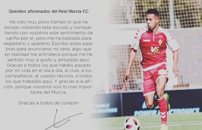 Jeisson Martínez y sus palabras de despedida a los hinchas del Real Murcia