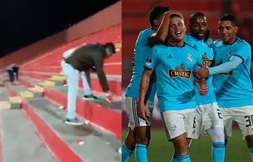 Hinchas de Sporting Cristal limpiaron el estadio tras goleada al Unión Española
