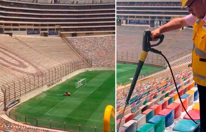 Estadio Monumental recibió limpieza tras 19 años. Foto: Twitter