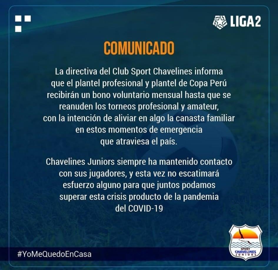 Sport Chavelines recibirá un bono mensual que los ayude momentáneamente. Foto: Facebook