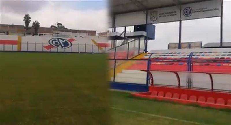 El Estadio Iván Elías Moreno dejó de tener césped sintético. Foto: Captura Twitter - @oscarpaz200