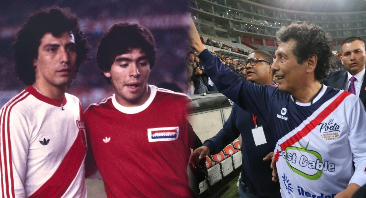 César Cueto al lado de Diego Maradona y en un homenaje. Foto: Andina