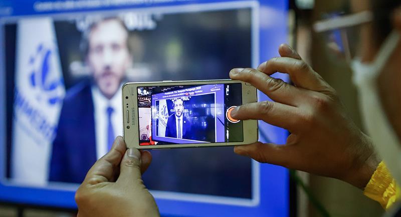 Domínguez durante la Cumbre Virtual de Presidentes del Mercosur y Estados Asociados. Foto: EFE
