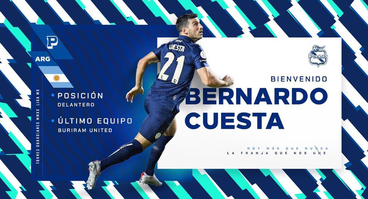 Bernardo Cuesta volverá a ser el '9' de Juan Reynoso. Foto: Twitter Puebla