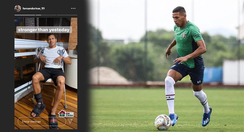 Fernando Pacheco y la foto que confirma su lesión. Foto: Instagram @fernandorivas_99
