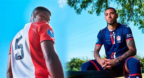 Sergio Peña y Miguel Araujo presentaron la nueva camiseta del FC Emmen de Países Bajos