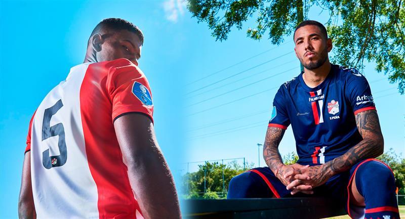 Miguel Araujo y Sergio Peña posan con la nueva camiseta  temporada 2020 - 2021. Foto: Twitter FC Emmen