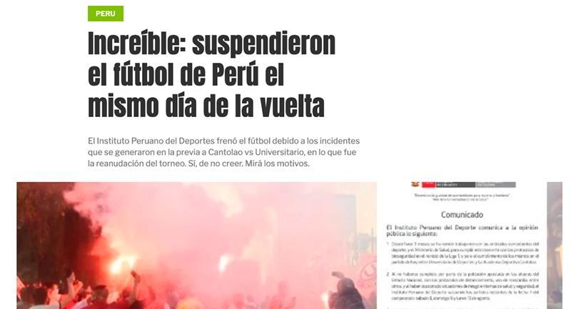 Medios internacionales informaron sobre la suspensión de la Liga 1. Foto: Diario Olé- Captura