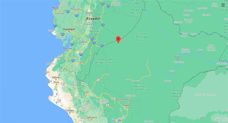 Temblor sacudió Pastaza este viernes 25 de septiembre. Foto: Google Maps
