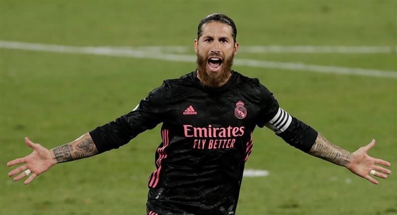 Sergio Ramos celebrando uno de los goles de Real Madrid. Foto: EFE