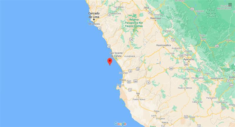 Leve temblor sacudió San Vicente de Cañete, en Lima, este domingo 27 de septiembre. Foto: Google Maps