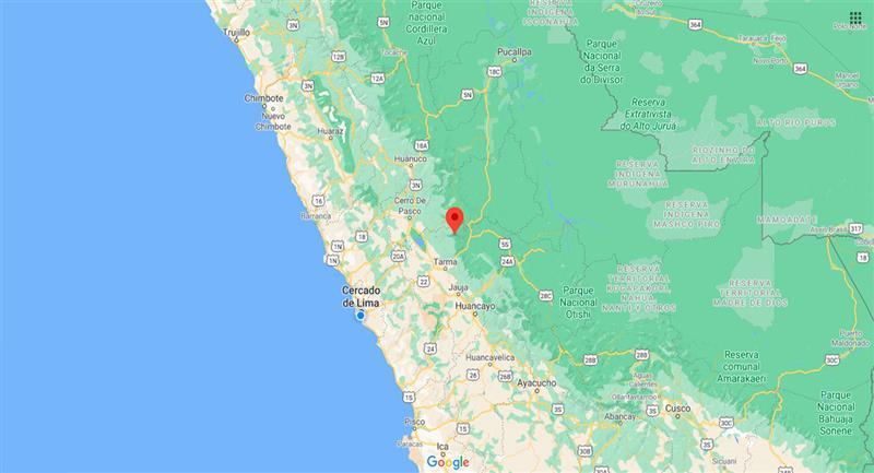 Temblor sacudió Paucartambo este martes 20 de octubre. Foto: Google Maps
