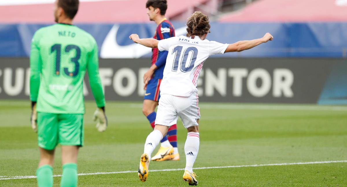 Luka Modric marcó un golazo para sentenciar la victoria de Madrid. Foto: Twitter Real Madrid