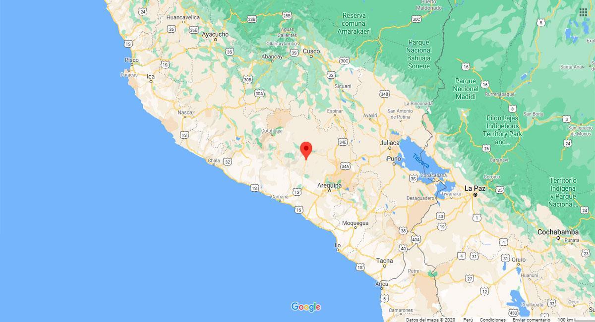 Temblor sacudió Huambo este domingo 25 de octubre. Foto: Google Maps