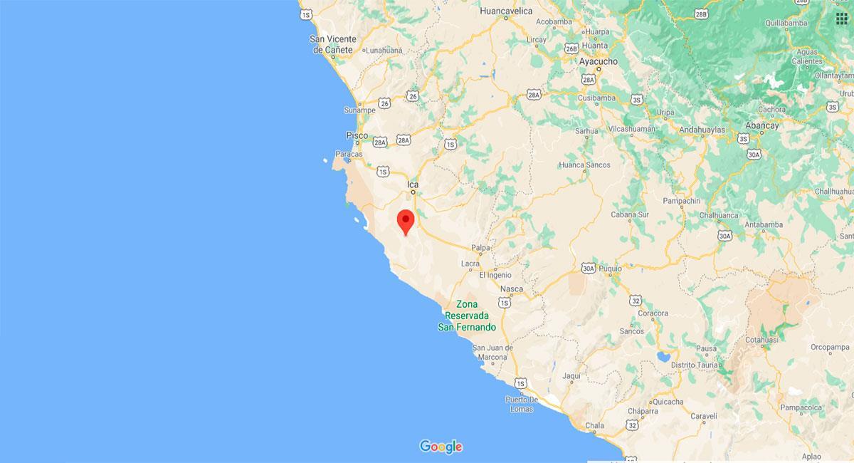 Temblor sacudió Ica este domingo 25 de octubre. Foto: Google Maps