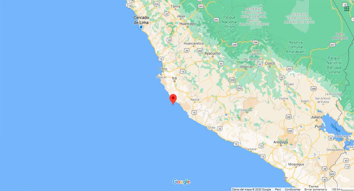 Temblor sacudió Palpa, en Ica, este miércoles 28 de octubre. Foto: Google Maps