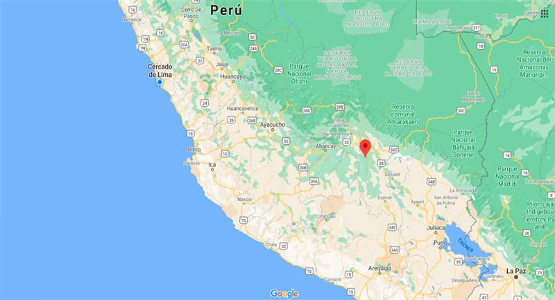 Temblor sacudió Paruro, en Cusco, este jueves 29 de octubre. Foto: Google Maps