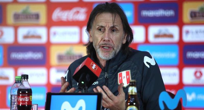 Ricardo Gareca en su conferencia de prensa en la Videna. Foto: Prensa de la FPF