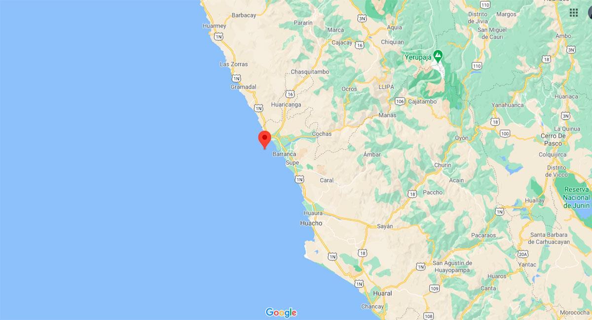 Temblor sacudió Barranca (Lima) este domingo 15 de noviembre. Foto: Google Maps