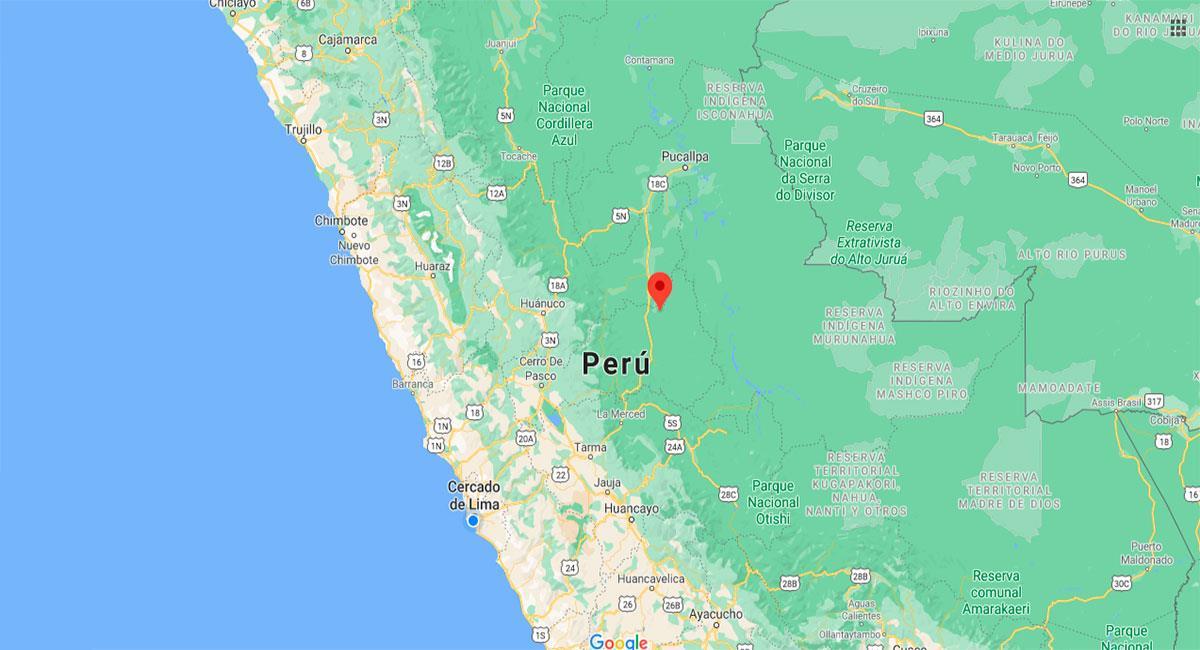 Temblor sacudió Puerto Bermúdez este lunes 16 de noviembre. Foto: Google Maps