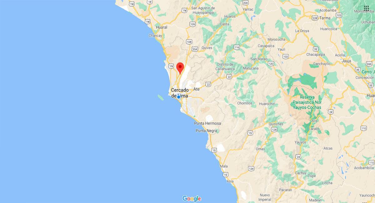 Temblor despertó a los limeños la madrugada del 12 de diciembre. Foto: Google Maps