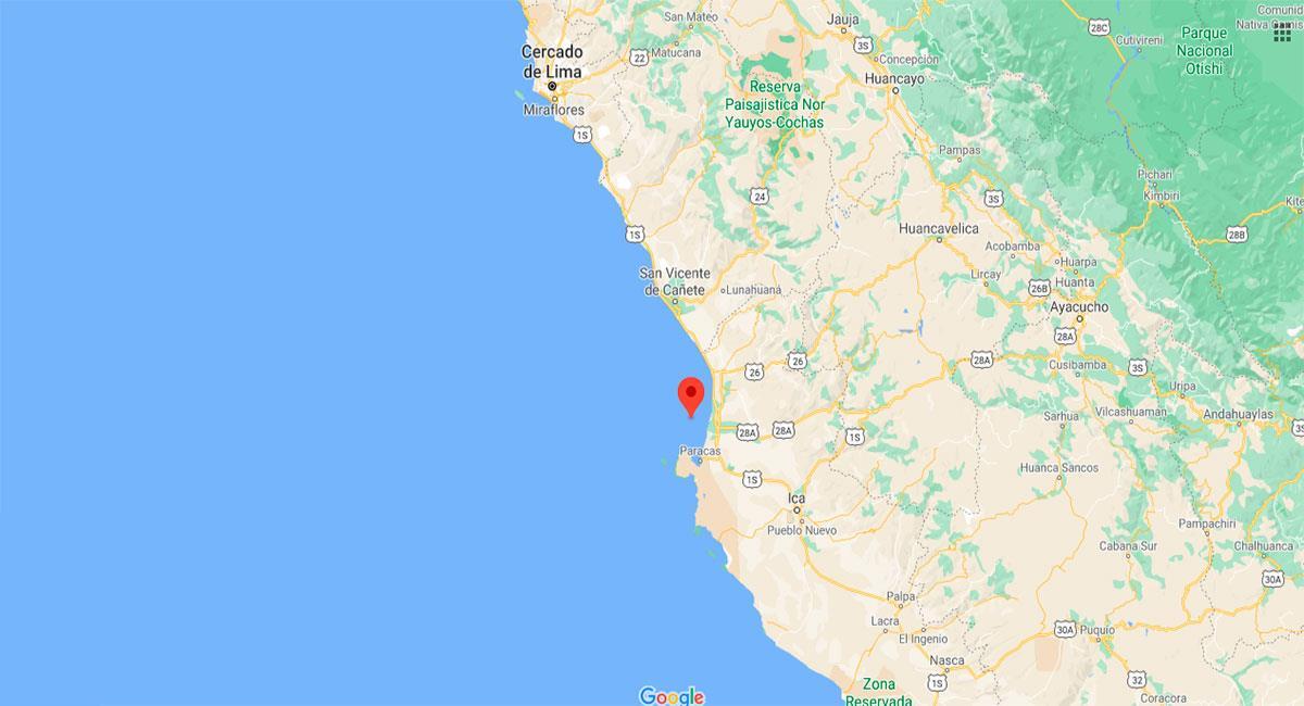 Temblor de 4.1 en Pisco. Foto: Google Maps