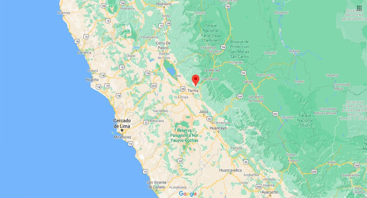 Temblor sacudió Tarma (Junín) este miércoles 30 de diciembre. Foto: Google Maps