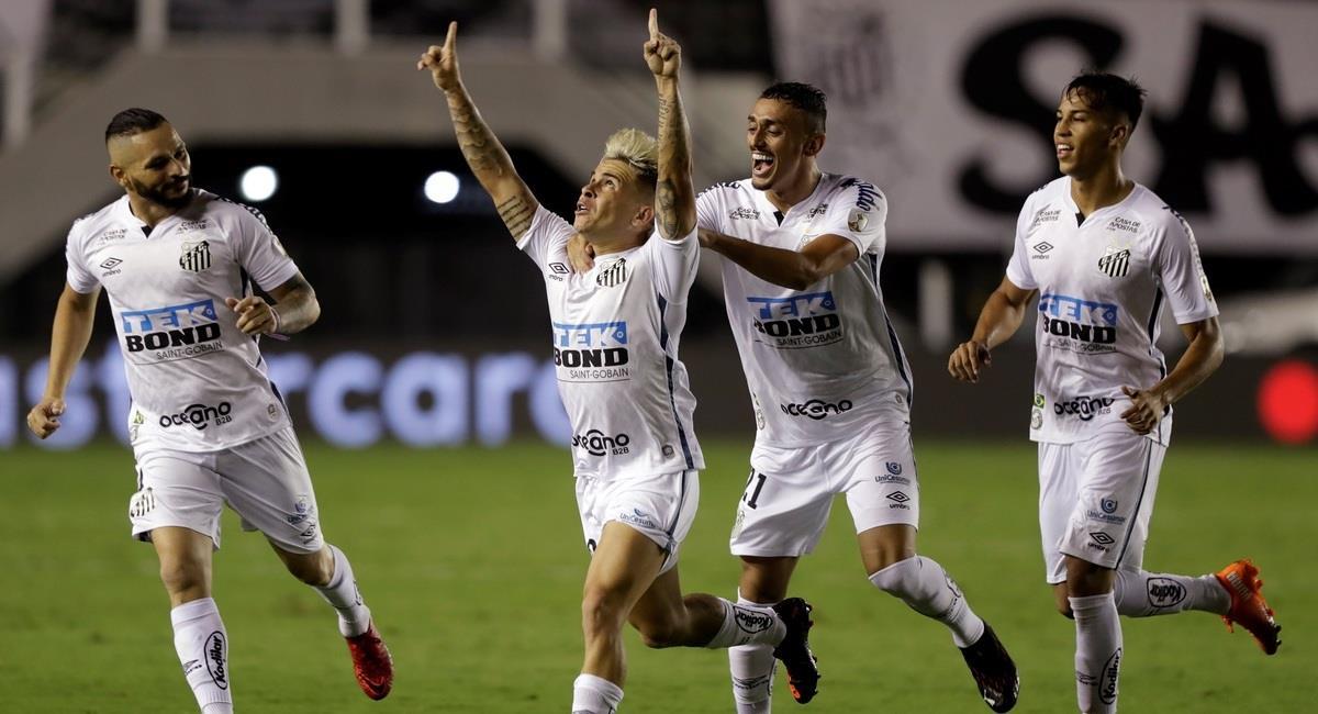 Soteldo y la celebración tras su gol. Foto: EFE