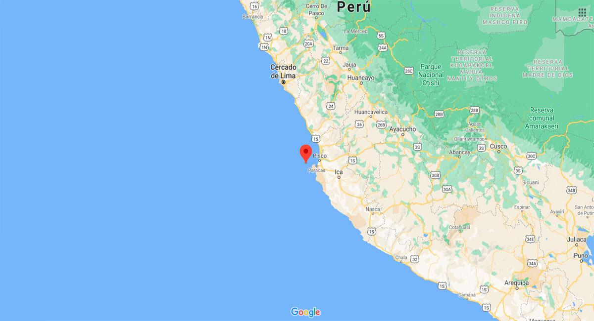 Temblor sacudió Pisco (Ica) este viernes 15 de enero. Foto: Google Maps