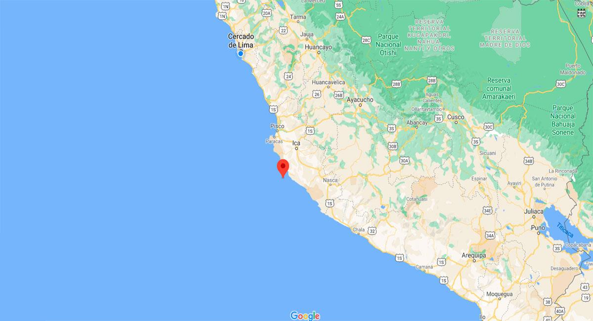 Temblor sacudió Ica este sábado 16 de enero. Foto: Google Maps