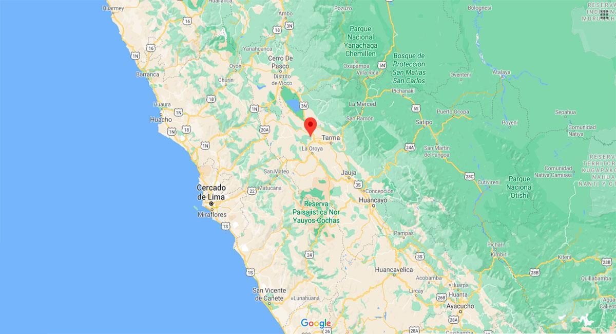 Temblor sacudió Junín este martes por la noche. Foto: Google Maps
