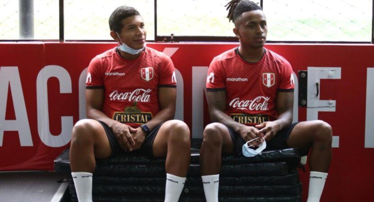 Edison Flores y Yordy Reyna entrenan en la Videna. Foto: Prensa FPF