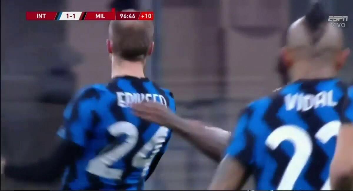 Christian Eriksen marcó el gol del triunfo. Foto: Twitter Captura ESPN MX
