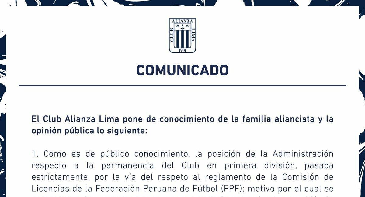 Comunicado de Alianza Lima. Foto: Twitter Alianza Lima