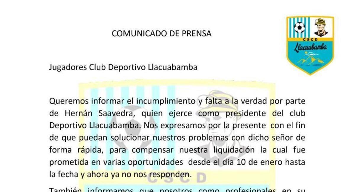 Comunicado de los jugadores de Llacuabamba. Foto: Twitter Difusión