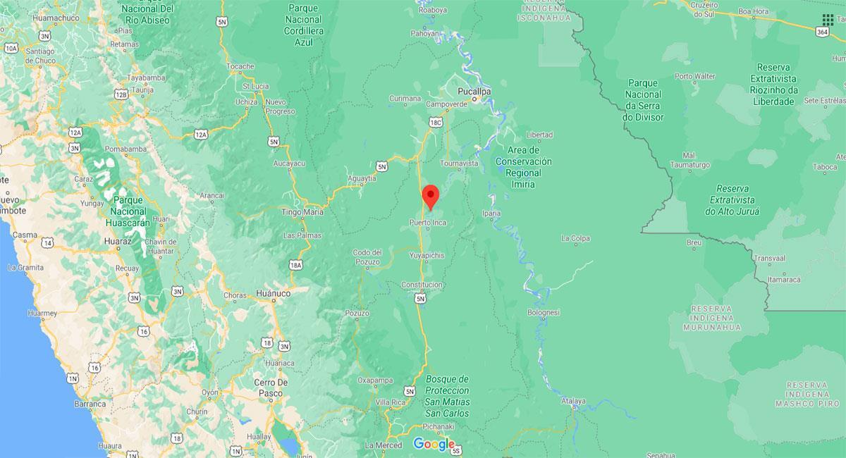 Temblor sacudió Puerto Inca (Huánuco) este lunes 22 de febrero. Foto: Google Maps
