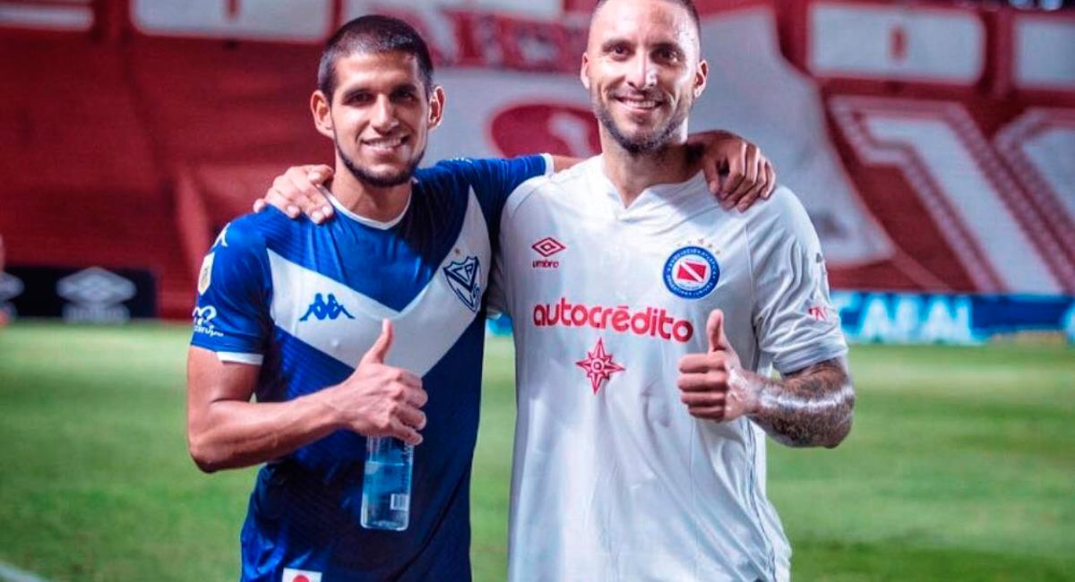 Luis Abram junto a Emanuel Herrera tras el Vélez vs Argentinos Jrs. Foto: Instagram Luis Abram