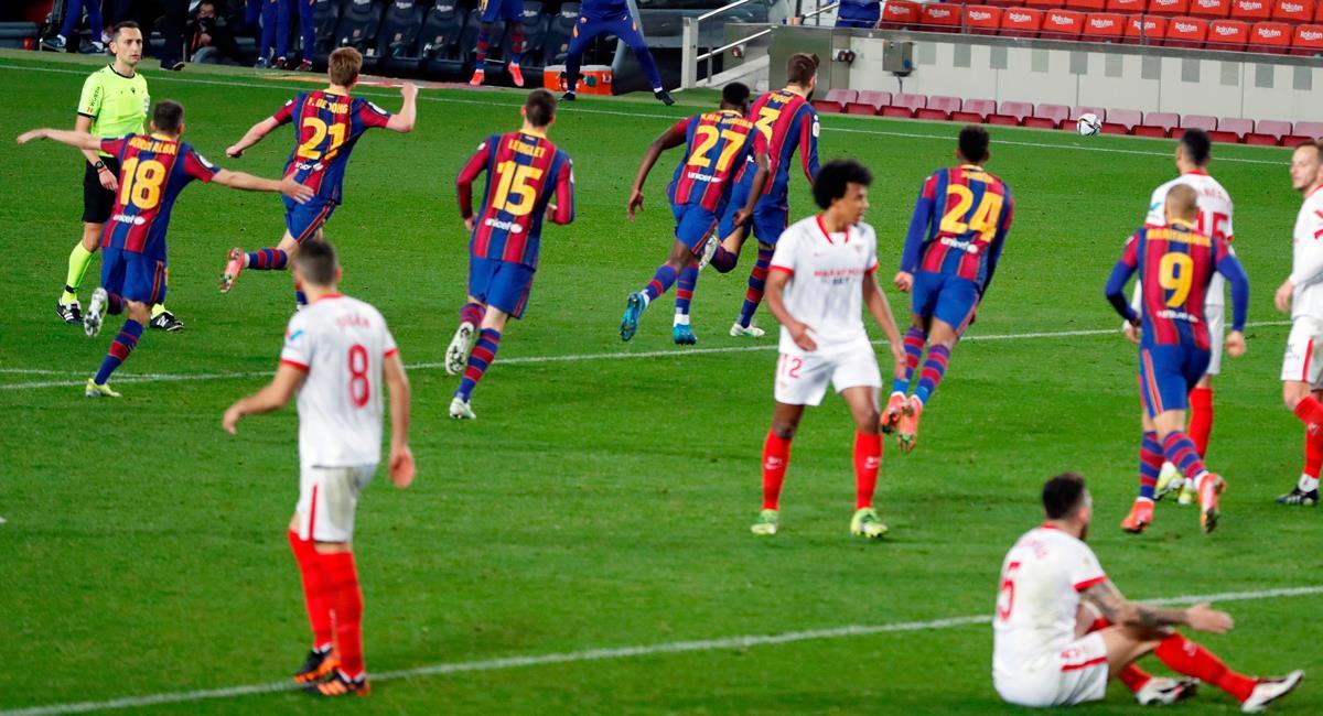 Barcelona remontó y goleó 3-0 a Sevilla para avanzar en la Copa del Rey. Foto: EFE