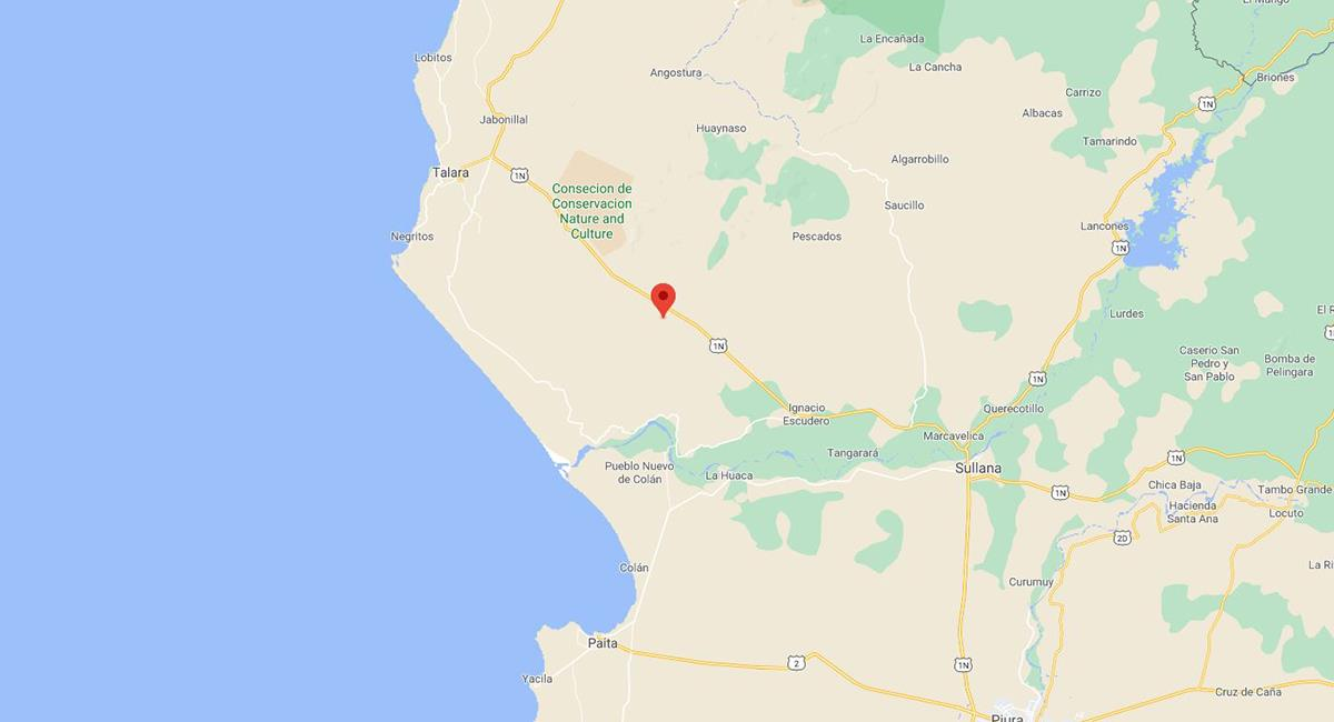 Sismo de 4,0 en Talara, Piura. Foto: Captura Google Maps