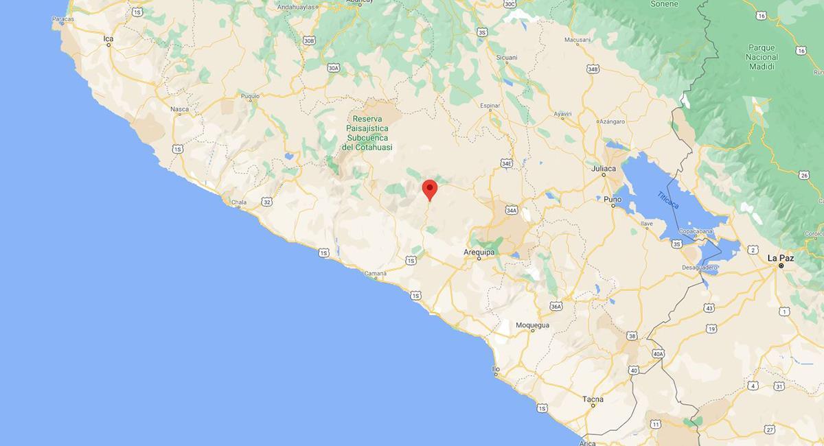 Sismo en Arequipa de 3,6. Foto: Captura Google Maps