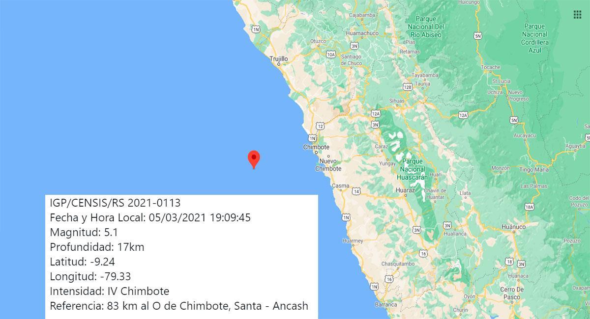 Temblor sacudió Chimbote este viernes 5 por la noche. Foto: Google Maps
