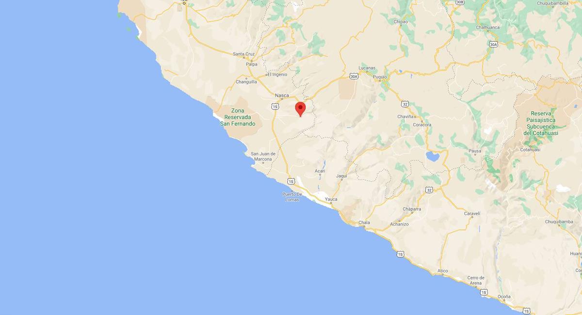 Sismo de 4.2 en Nazca, Ica. Foto: Twitter Captura Google Maps