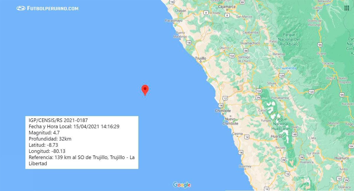 Temblor sacudió Trujillo (La Libertad) este jueves 15 de abril. Foto: Google Maps